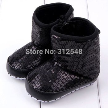 Trendy Infant Baby Girls Sequins High Boots Soft Bottom Anti Slip Toddler Shoes