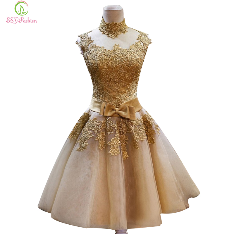 Buy Short Lace Gold Evening Dresses Ssyfashion Bride Princess Banquet Vintga