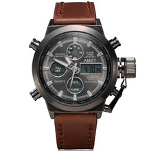 Unique Vogue Men's Swimming Digital LCD Quartz Dual Time Outdoor Sport Army Watches Clock With Leather Strap Reloje Hombre 2015