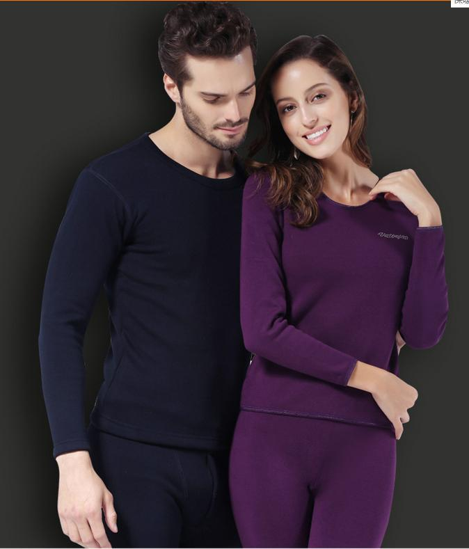 Winter Thermal Underwear Plus Thick Velvet Lovers Clothes Long Johns for men and women elastic underwear on winter