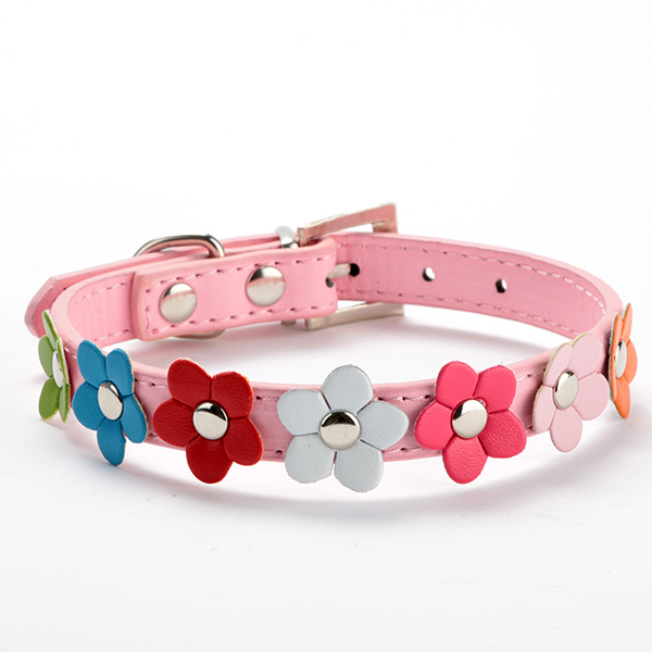 Studded Leather Collar Buckle Puppy Pet Dog Neck Strap Cat Collar Sweet Flower Collar(China (Mainland))