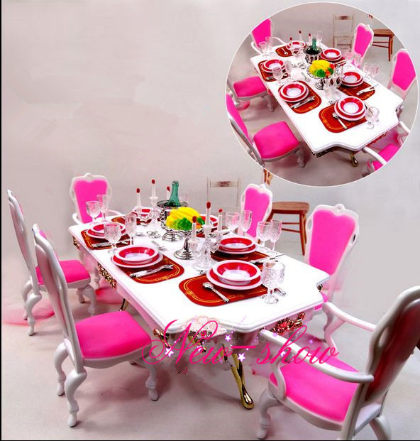 Pink amp White Dining Table Set dollhouse Dining Room  : Pink White Dining Table Set dollhouse Dining Room furniture Saucer Chair Accessories decoration for Barbie kurhn from www.aliexpress.com size 592 x 621 jpeg 131kB