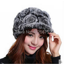Rex rabbit fur knitted hat Real fur visors Warm and soft Flowers Female hat 2015 Fashion New Style Handmade Rabbit fur hat Gift(China (Mainland))
