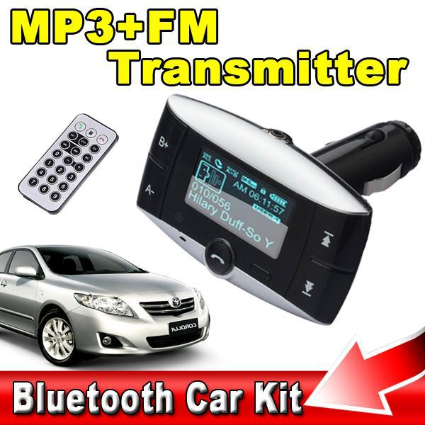 """AC T LCD 1.5"""" Bluetooth Car Kit Hands MP3 Player FM Transmitter + Remote USB SD MMC Support for iPhone 5s 4 Note 3 Neo N9000(China (Mainland))"""