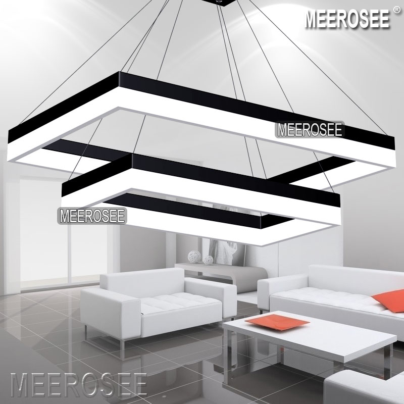 LED Pendant Light Modern Rectangle Black Pendant Suspension Light Fixture Gol