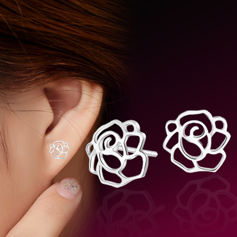 Fashion Korean Style Peony Flower Design Silver Plated Stud Earring Fresh Women Jewelry Ornaments Wholesale(China (Mainland))