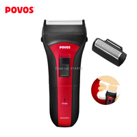 Povos Men Electric Shaver PS2203 Red+Black Single Head Rechargeable Fully Washable Fashionable US Plug with US to EU Adapter