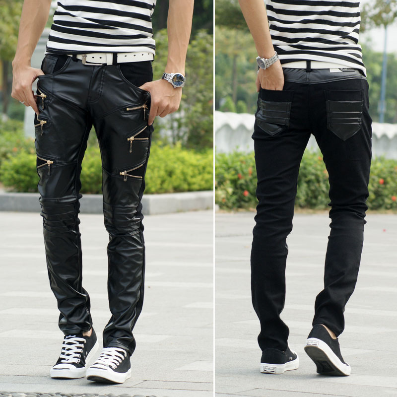 2014 New fashion European mens clothing Casual personality zipper male black Faux Leather slim Trousers mens skinny pantsОдежда и ак�е��уары<br><br><br>Aliexpress