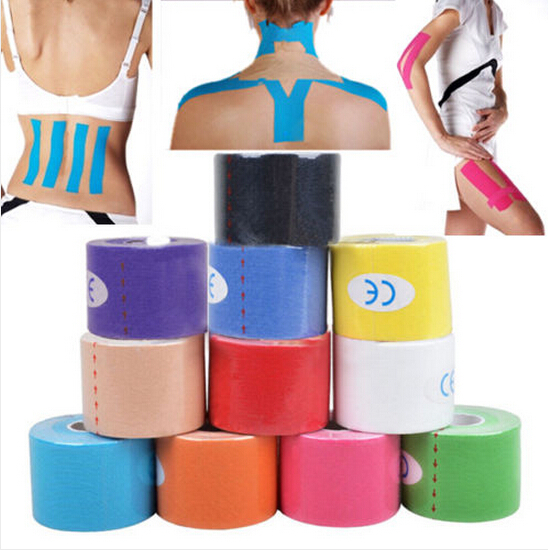 New Desigh 5cm x 5m NEW Kinesiology Kinesio Roll Cotton Elastic Adhesive Muscle Sports Tape Bandage Physio Strain Injury Support(China (Mainland))