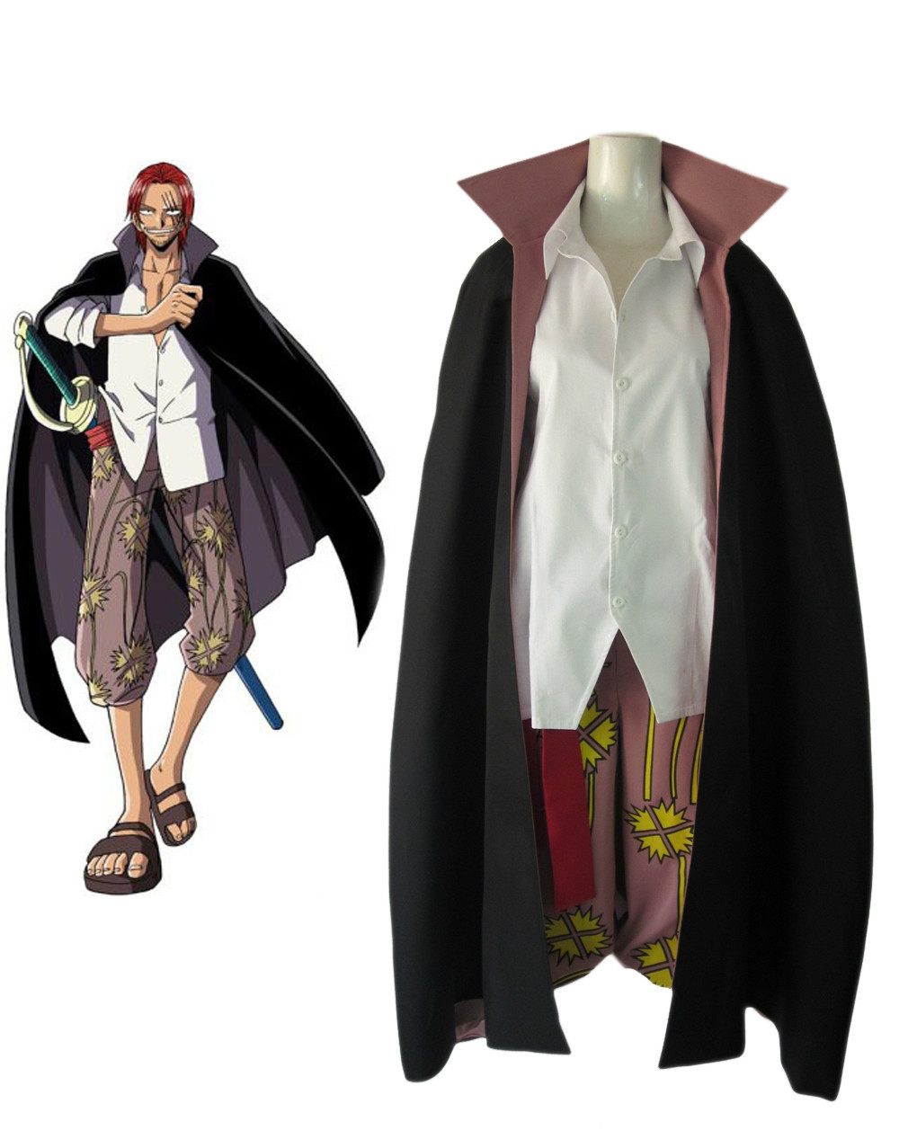 "Free Shipping One Piece ""Red-Haired"" Shanks Two Years Latter Anime Cosplay Costume(China (Mainland))"