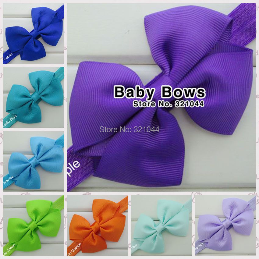 20pcs/lot 3.5 Inch Grosgrain Ribbon Hair Bows With1.5CM Elastic Infant Headband Accessories,Girls Hair Accessories Free Shipping(China (Mainland))