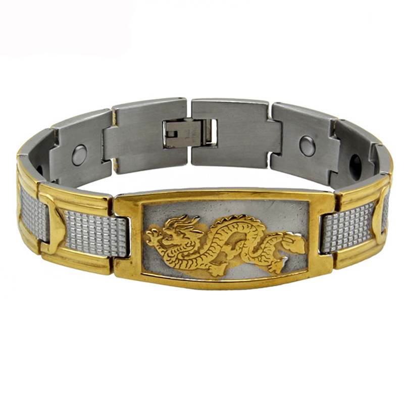 2016 Mens Golden Chinese Power Dragon Strong Magnetic Energy Powe Bangle Stainless Steel Bracelet TG4330 Free Shipping(China (Mainland))