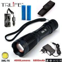 CREE XM-L T6 LED 5000LM Aluminum Torches Zoomable LED Flashlight Torch Lamp contain two batteries two chargers(China (Mainland))