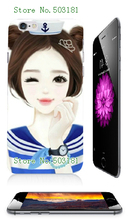 2016 Hot Sale Mobile Phone Housing HOT GIRLS CARTOON white hard cases for iphone 6plus/6s plus free shipping