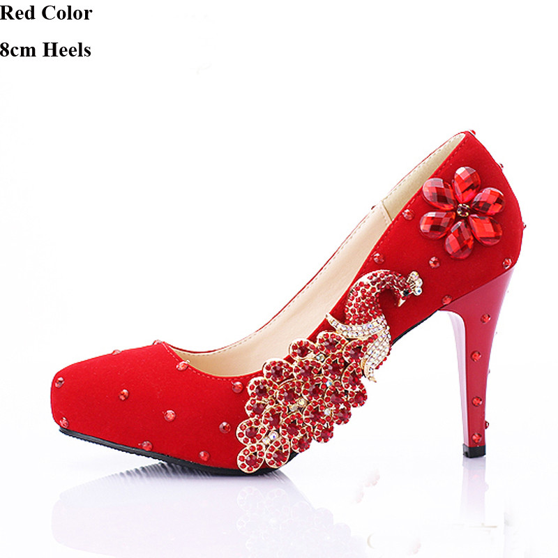 Red Bridal Dress Shoes Suede Leather Rhinestone Phoenix Bridesmaid Shoes Alti-slip Formal Wedding Shoes Fashion Women Pumps