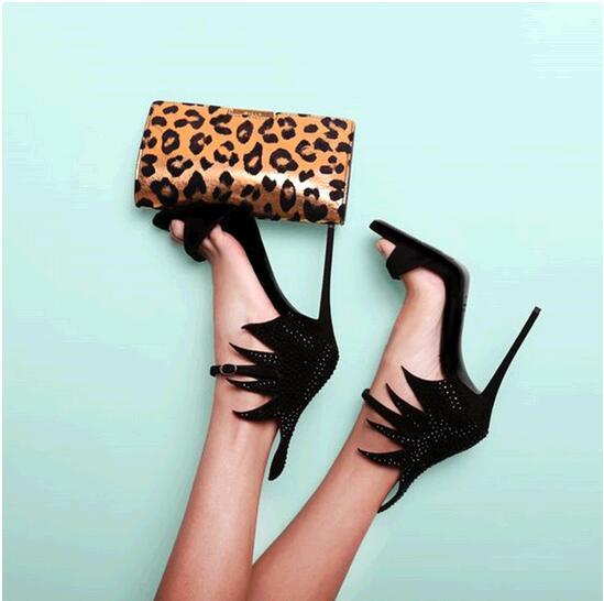 European Design Evening Shoes Woman Rhinestone Sandal Black Leather Pumps High Heels Women Sandles Shoes 2015(China (Mainland))