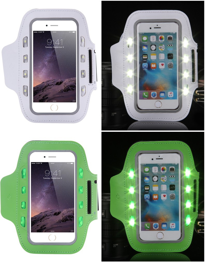 LED Flashing Arm Band for Iphone 6 Brush Metal PVC Arm Pouch Case for Samsung Galaxy S4 Running/Cycling/Skating/Party/Shooting