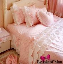 100% cotton bedding set pink girl print bed skirt 4 pieces set princess fashion polka dot duvet cover bed skirt modern Korea(China (Mainland))