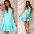 Womens Summer Dresses 2017 Summer Sleeveless Casual Sexy Ruffles Party Mini Dress Plus Size