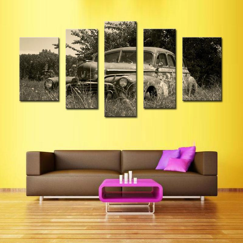 Wholesale Classical 5 panels old car on grass Canvas Print Painting for living room Decor Wall Art Picture hot sale unframed(China (Mainland))