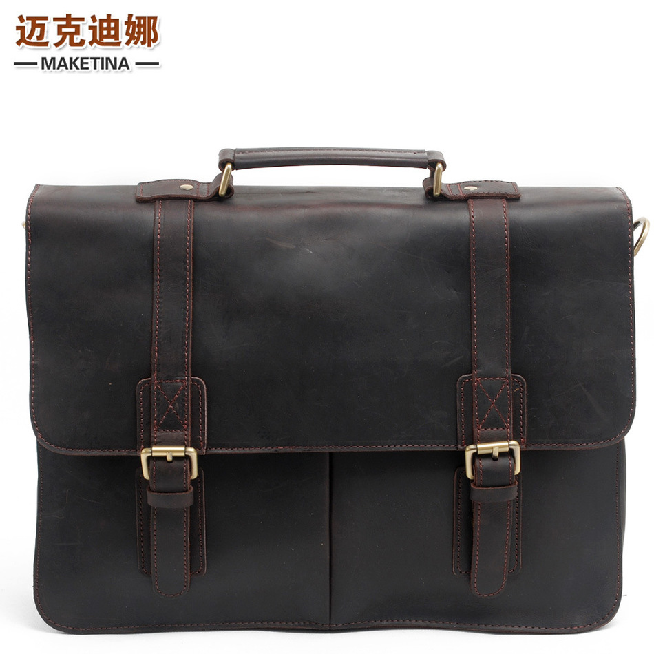 European Heat Sell Man Genuine Handbag Crazy Document Baotou Layer Cowhide Male Package Shoulder Messenger Computer Package(China (Mainland))