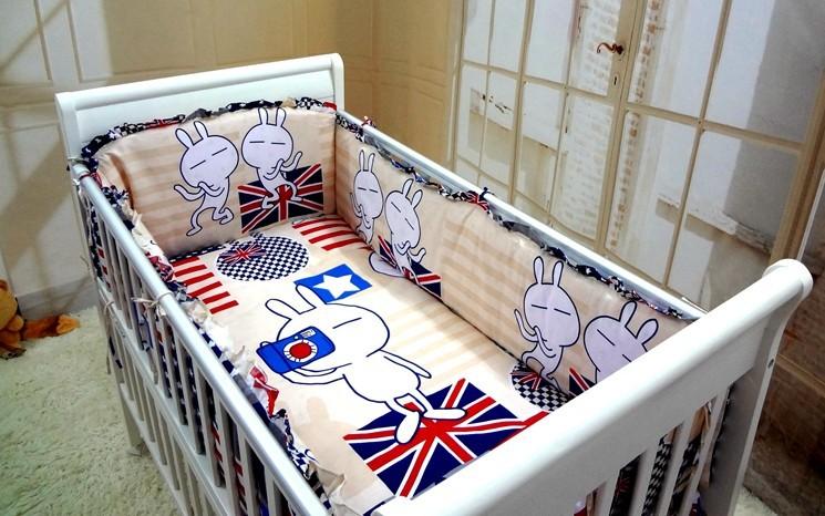 Promotion! 6PCS Baby crib bedding set 100% cotton crib bumper baby bedding set(bumpers+sheet+pillow cover)<br><br>Aliexpress