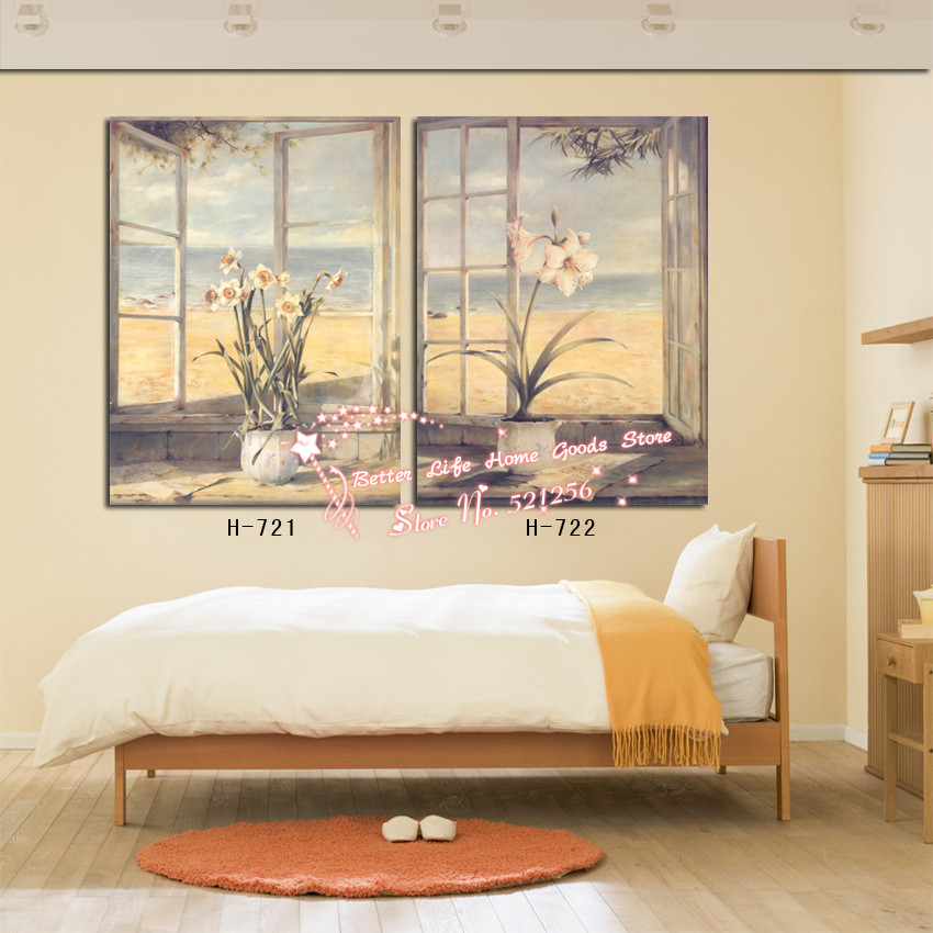 Modern Wall Art Home Decoration Printed Oil Painting Pictures 2 Piece Classical Daffodils on the Window Bedroom Canvas Prints(China (Mainland))