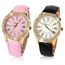 Women Bling Crystal Faux Leather Analog Quartz Wrist Watch Charm Watch