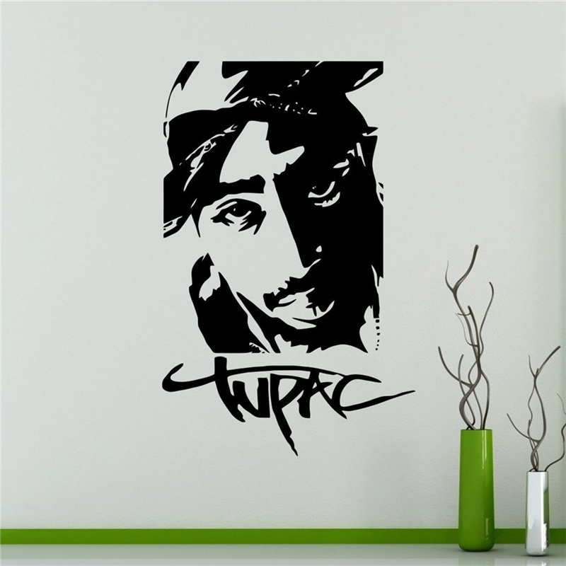 pac tupac amaru shakur wall decal pared de vinilo pegatinas rapero hip hop diseo interior de
