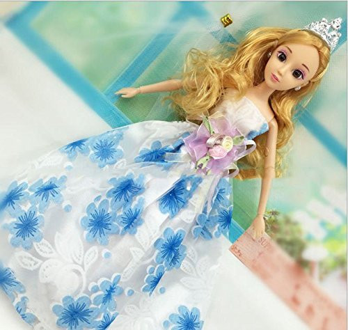 Princess Luxurious Multi-lace Wedding ceremony Get together Robe Gown for Barbie Doll Garments  Reward Blue,Pink and Purple Florals Mannequin