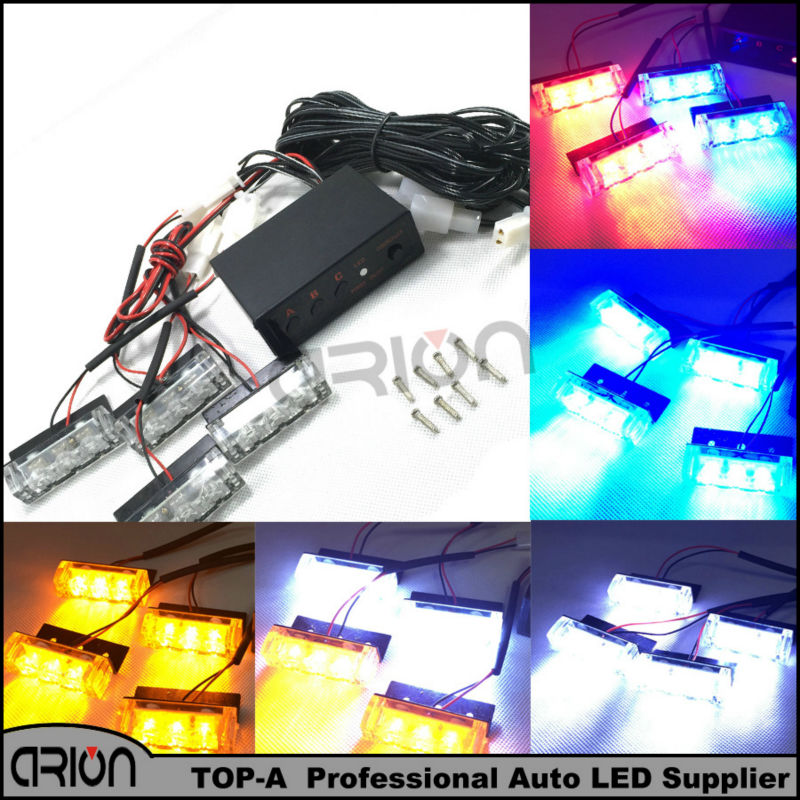 4x3 12 LED 12W Car Strobe Flash Warning EMS Police Firemen Emergency Grille Light White Yellow Red Blue Red/Blue Amber/White(China (Mainland))