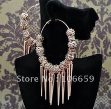 Spikes POParazzi Inspired Rose Basketball Wives Crystal Ball Hoop Earrings 9 Balls 3inch 10 Pairs(China (Mainland))