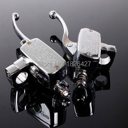 "Pair Chrome Universal Motorcycle 7/8"" Handlebar Brake Clutch Master Cylinder Levers For Harley Honda Suzuki Kawasaki Yamaha BMW(China (Mainland))"