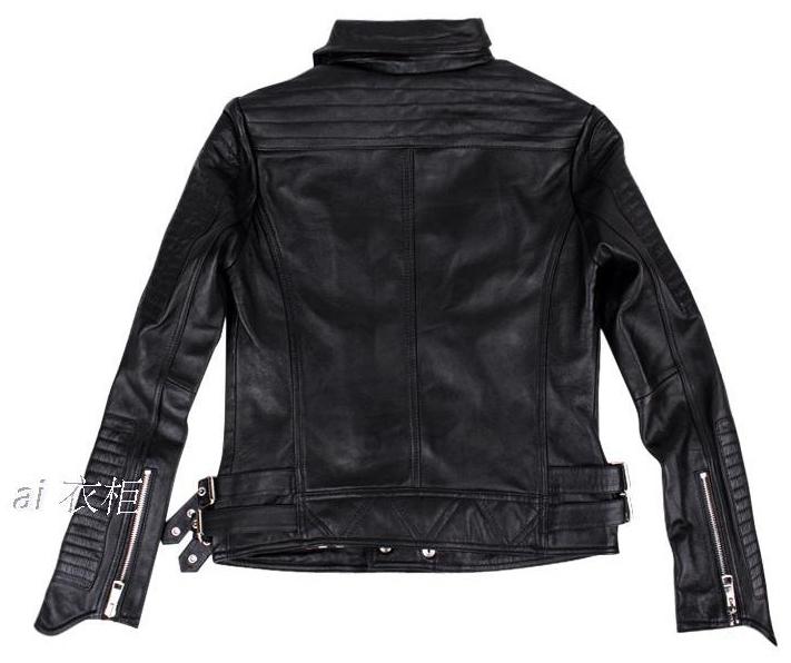 Желтый черный настоящее кожа куртка мотоцикл одежда натуральная кожа куртки женское женщин star