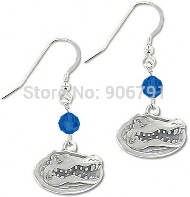 60pairs Florida Gators drop blue crystal earrings,antique silver plated(China (Mainland))