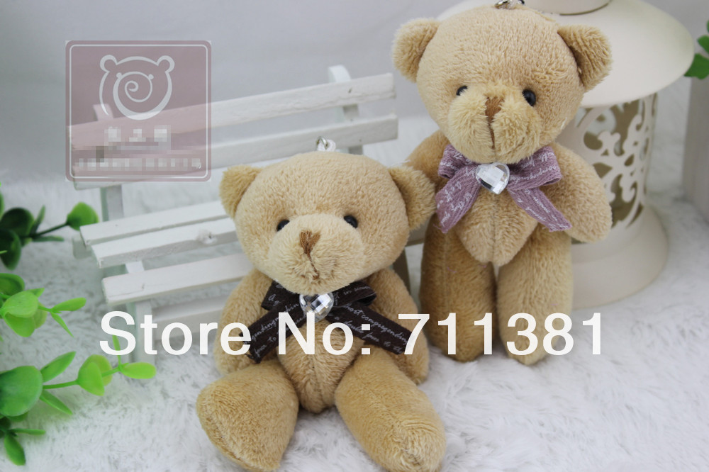 Free Shipping By EMS, Memorable Wedding Gifts Teddy Bear Stuffed Animal, Brown Bear Toys With A Cute Korean Printing Tie(China (Mainland))