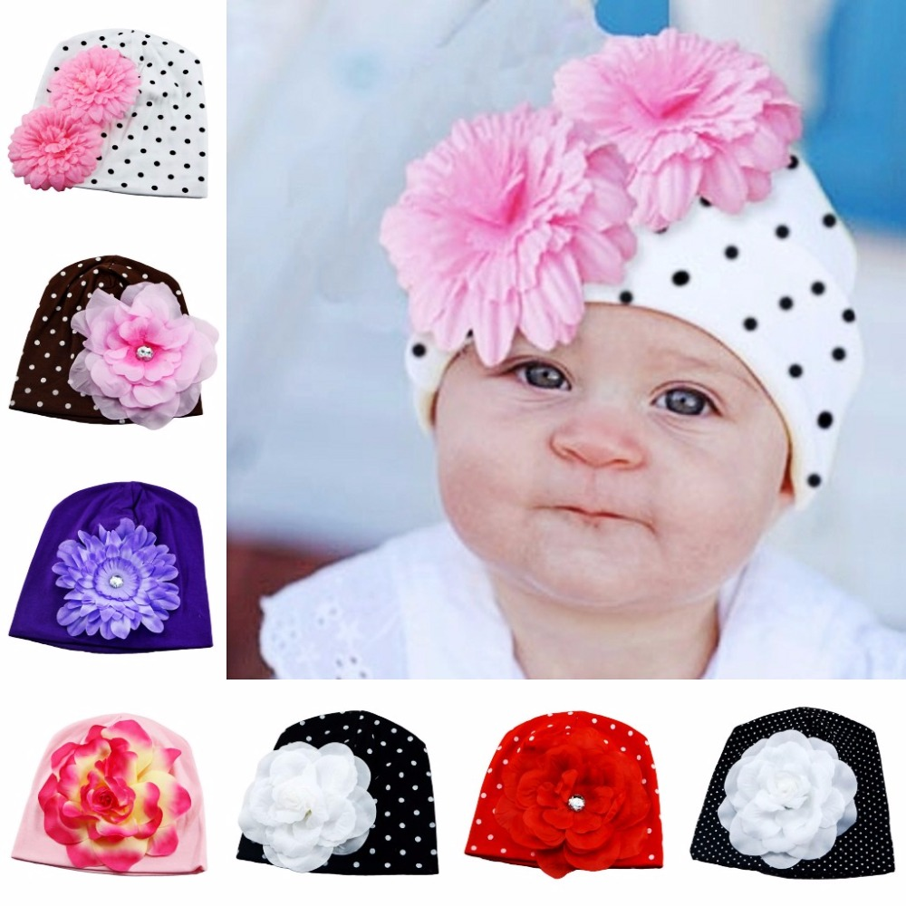 New Lovely Baby Headwear Candy Beanie Hat Big flower Beanies Toddler girls hat Infant flower beanie hat Cotton cap(China (Mainland))