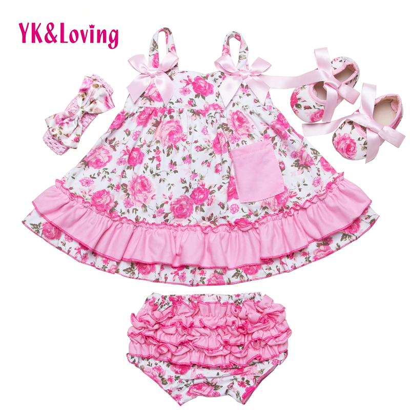 2017 Summer Style Baby Swing Top Baby Girls Clothing Set Infant Flower Ruffle Outfits Bloomer Headband Newborn Girl Clothes Sets(China (Mainland))