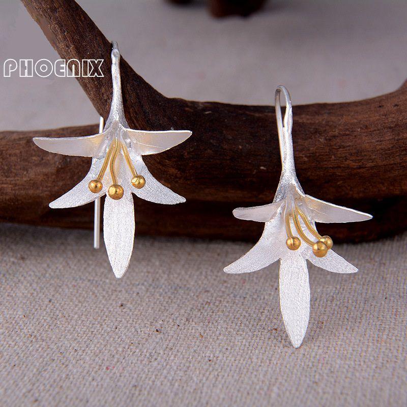 SSE070 Genuine Pure Real 925 Sterling Silver Drop Earrings For Women Girl Jewelry Cute Ethinic Flowers Dangle Earrings<br><br>Aliexpress