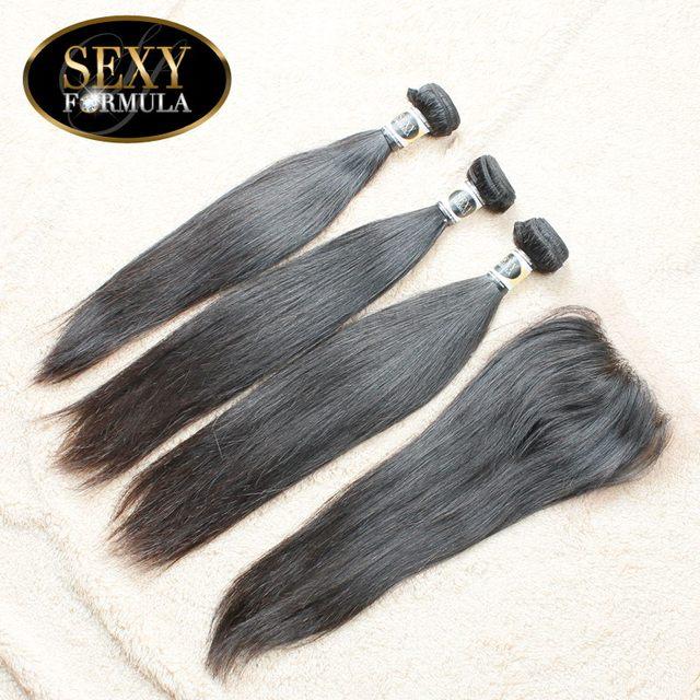 Brazilian Hair Save Money 3+1 Brazilian Virgin Hair With Closure Free Shipping Brazilian Virgin Hair Straight  Human Hair