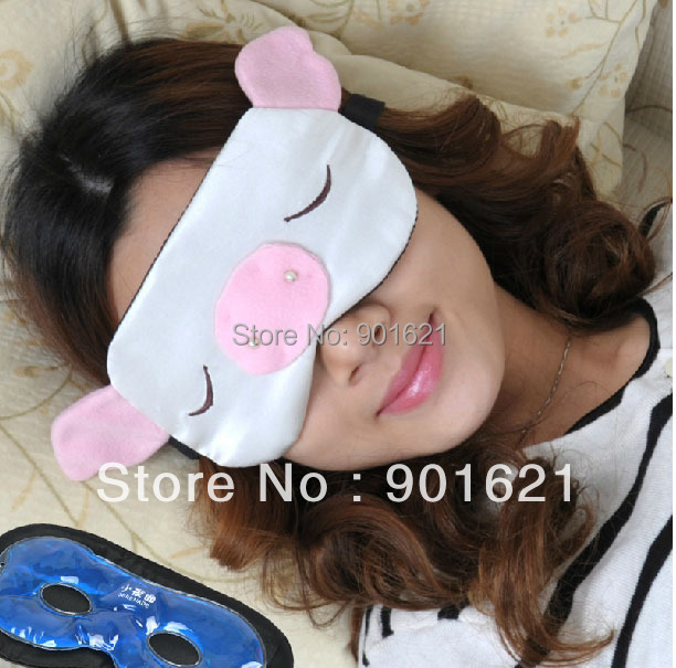 Free shipping funny pig sleep aid eye mask travel eyeshade sleeping mask,comfortable silk,with cold/hot compress GEL(China (Mainland))