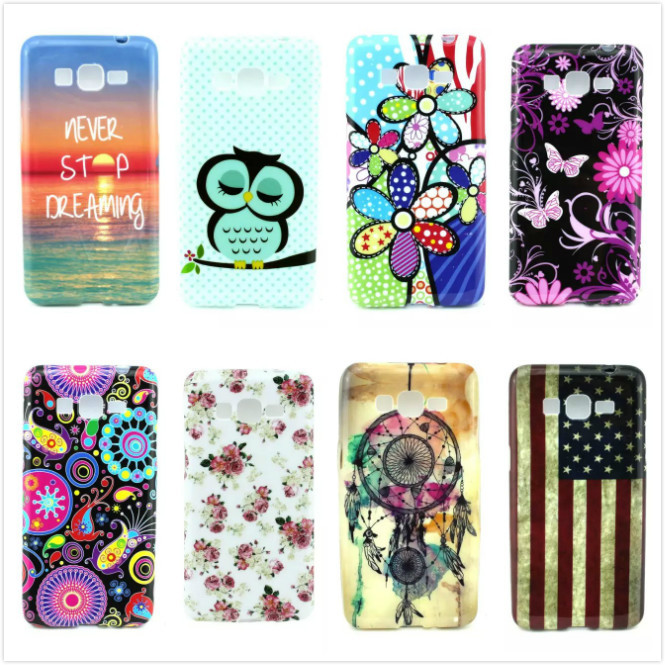 HOT Flower Owl Butterfly Soft TPU Cell Phone Skin Cases Covers for Samsung Galaxy Core Plus G3500 G3502 Back Cover Phone Cases()