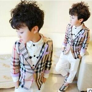 2016 New Spring Fashion Boys Clothes Plaid Full Children Kids Blazer Coats Outerwear A412 - Sean store