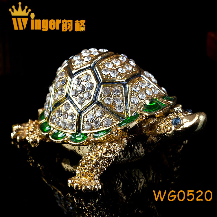 Shining Crystal Tortoise Jewelry Trinket Box Gold Metal Crafts Home Decoration Gift Vintage Animal Casket Turtle Figurine