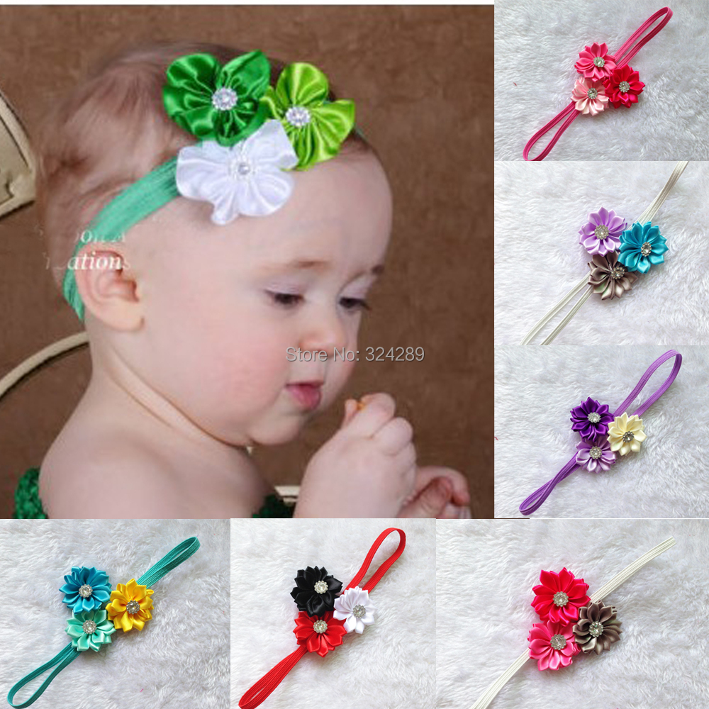 Hair accessory wholesale 50pcs baby girls DIY 1.6 layered artifical flower Satin Ribbon Multilayers Flower with skinny headband<br><br>Aliexpress