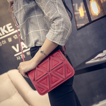 Korean Leather Square Triangle Stitching handbag Package Single Shoulder crossbody Flap Bag Individual Trend Worldwide sale(China (Mainland))