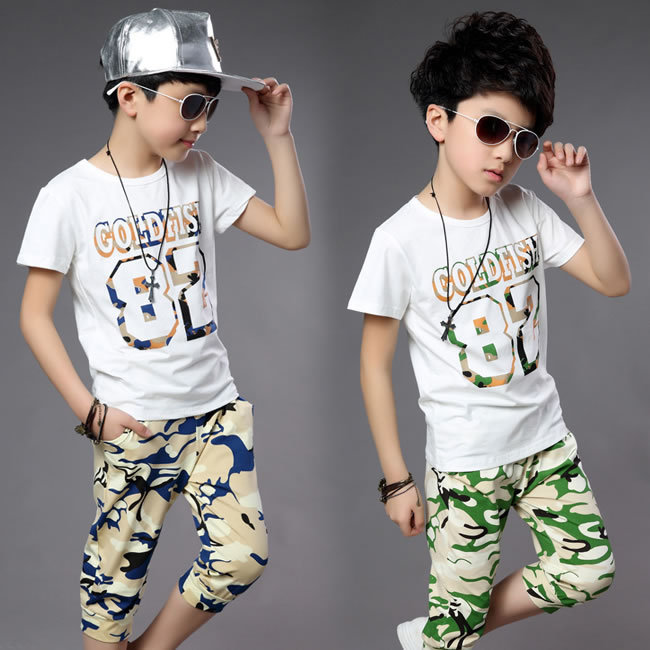 Summer Style Baby Boys Camouflage Sets Clothing 2015 Children Letter Digital T Shirts+Cotton Shorts Pants Roupas Infantis Menino(China (Mainland))