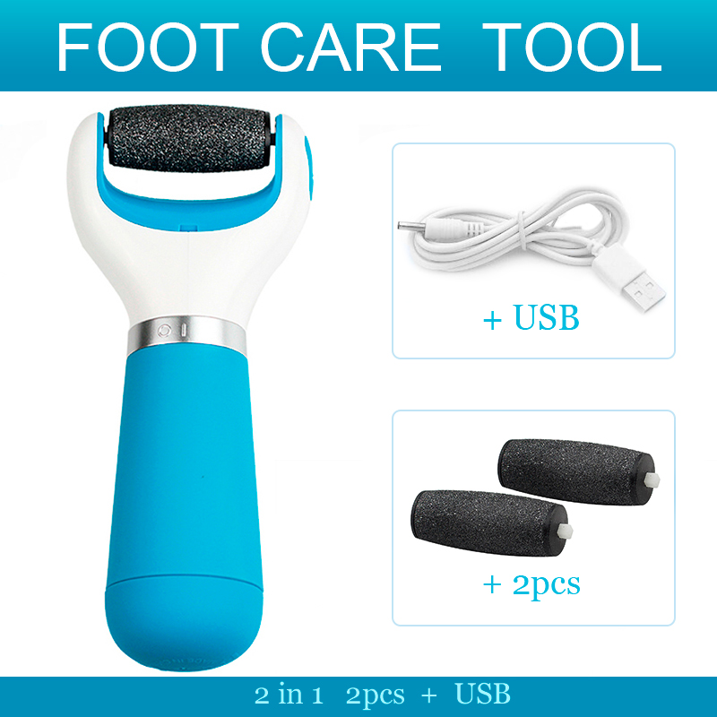 123-Foot Care Tool Electric Pedicure Machine With USB Foot File Set Skin Care Dead Skin Remover +2 Roller Heads Blue(China (Mainland))