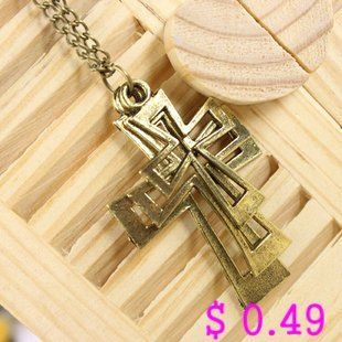 Min.order is $10 (mix order) Fashion Necklace Metal Necklace Three Cross Pendant Antique Necklace Free shipping Kp076