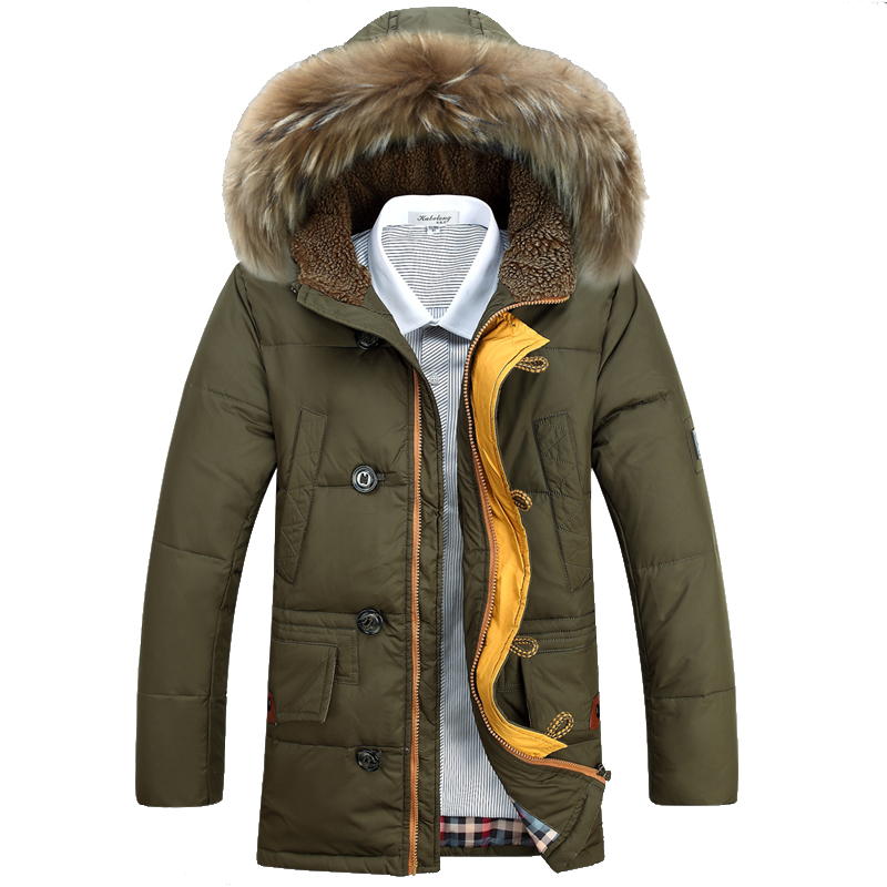 P275 2014 male winter medium-long hood thermal thickening coat 5009 three-color - A Roy's store